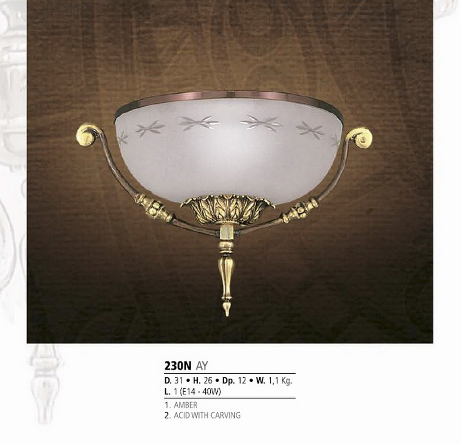 Riperlamp 230N 01.AA-AB-AE-AH-AM-AQ-AY-BG-BJ-BQ-CJ AMBER/ACID WITH CARVING