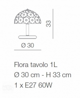 Voltolina Flora 1L Table Lamp Multicolour flowers Nickel