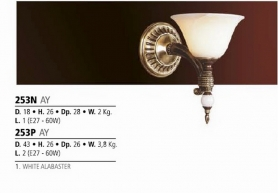 Riperlamp 253N 01.AA-AB-AE-AH-AM-AQ-AY-BG-BJ-BQ-CJ WHITE ALABASTER